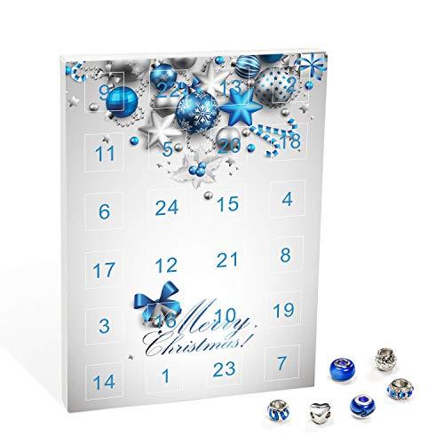 VALIOSA Merry Christmas Mode-Schmuck Adventskalender mit Halskette, Armband + 22 individuelle...