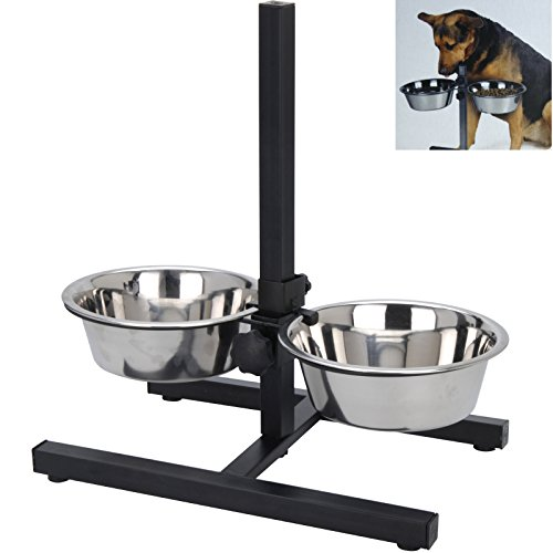 Smartweb Futterstation Hund inkl. 2 x 1,5 Liter Näpfen Hundenapf Fressnapf Höhenverstelbar Futternapf...