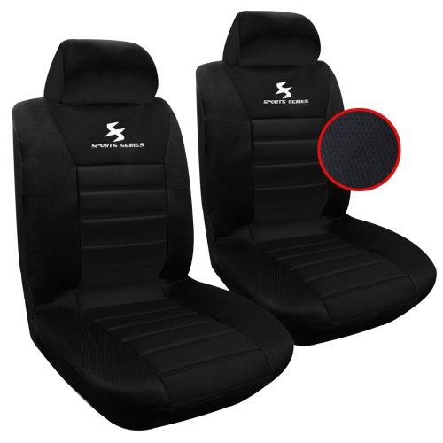 WOLTU AS7254-2 2er Sitzbezüge Auto Einzelsitzbezug universal Größe, Komplettset, schwarz
