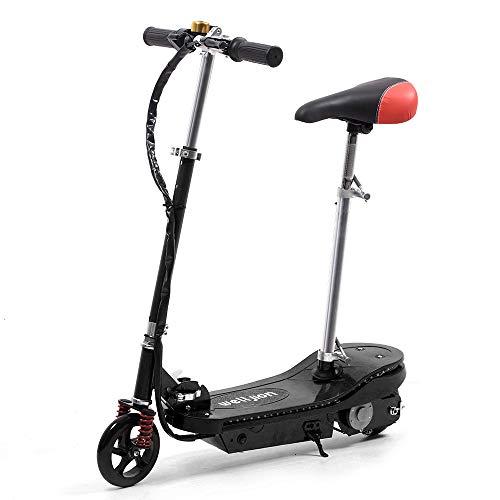 Schwarz Faltbarer Elektroroller mit Sitz für Kinder Mädchen Elektro Scooter mit LED Licht 150W Motor...