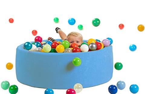 sunnypillow Bällebad für Baby Kinder mit 200 bunten Bällen∅ 7cm Bällepool 90x30cm viele Farben...