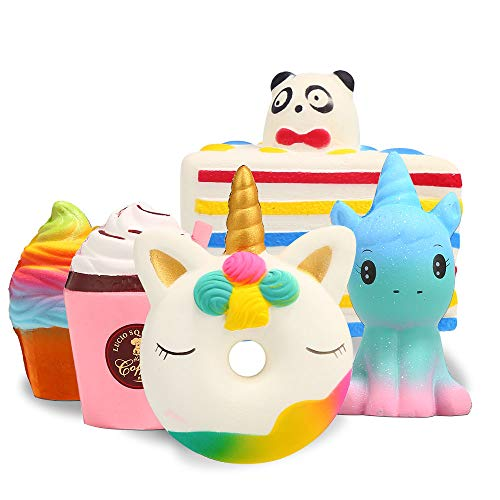 Squishy Spielzeug ,【5 Stück】 Squeeze Toys Kawaii Party Geschenke für Kinder,Pomisty Einhorn...
