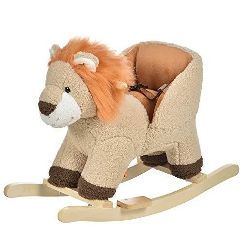 HOMCOM Kinder Schaukelpferd Baby Schaukeltier Löwe mit Löwenschrei Spielzeug Haltegriffe für 18-36...