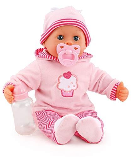 Bayer Design 93816AA Babypuppe First Words mit Schlafaugen, spricht 24 Babylaute, mit Schnuller und...