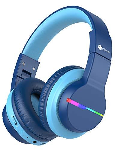 iClever Bluetooth Kinder Kopfhörer, Farbige LED-Leuchten, Kinderkopfhörer Over-Ear mit 74/85/94dB...