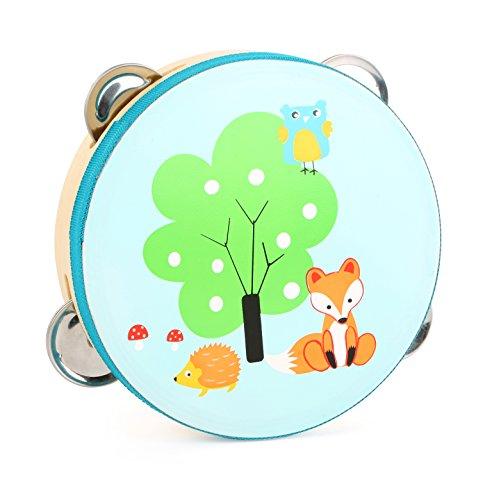 Small Foot 10721 Kleiner Fuchs aus Holz, Rhythmusgefühls, ab 3 Tamburin für Kinder, kindgerechtes...
