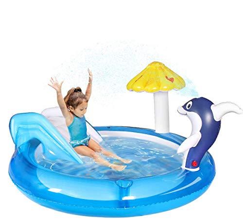 Qdreclod Aufblasbares wasserspielcenter, Planschbecken Mit Rutschen, Spielzentrum für Kinder,...