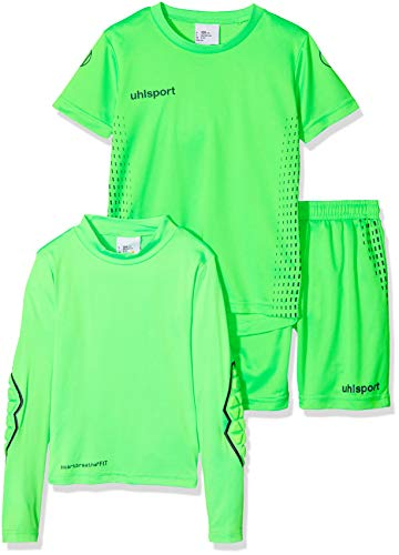 uhlsport Kinder Score Torwart Set, Fluo grün/Marine, 140