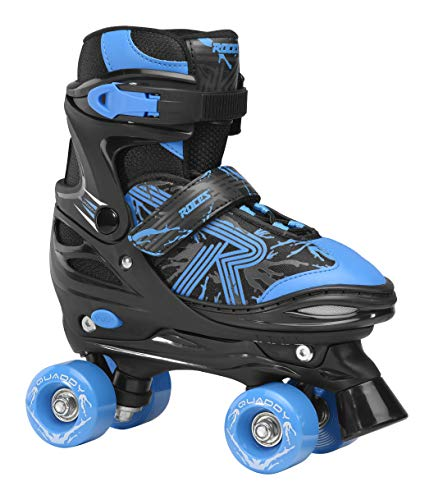 Roces Jungen Quaddy 3.0 Boy Größenverstellbarer Kinder-Rollschuh, Black-Astro Blue, 34/37