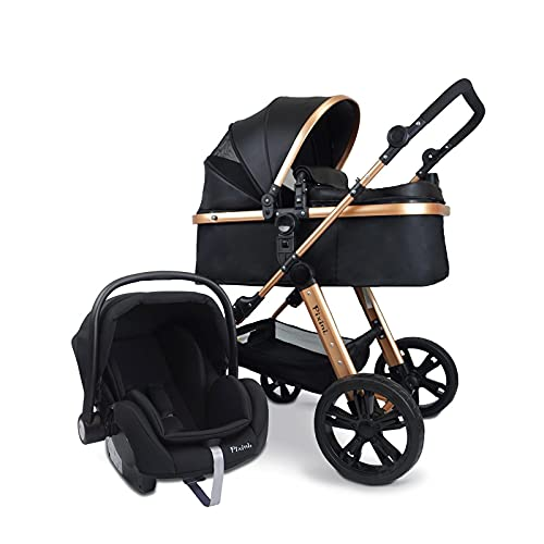 Pixini Kinderwagen (Arizona 3in1 inkl. Babywanne & Buggy & Auto-Babyschale - Alu-Rahmen - mit...