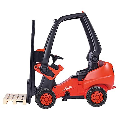 BIG - Linde Forklift - Kindergabelstapler, Spielfahrzeug mit Präzisionskettenantrieb, verstellbarer...