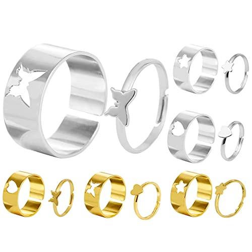 6 Paar Partnerringe,Paare Ringe,Schmetterlings Ring,Stern Herz Ringe, Paare Eheringe...