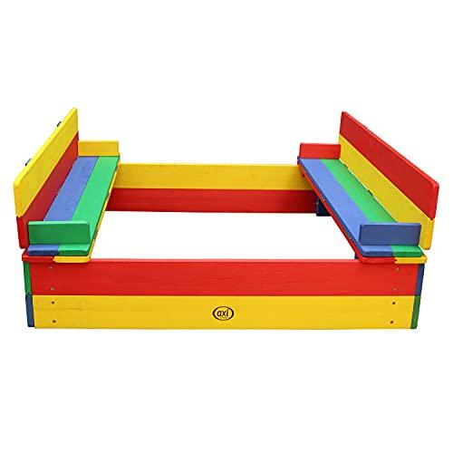 AXI Sandkasten Ella aus Holz mit Deckel | Sand Kasten mit Sitzbank & Abdeckung für Kinder in bunten...