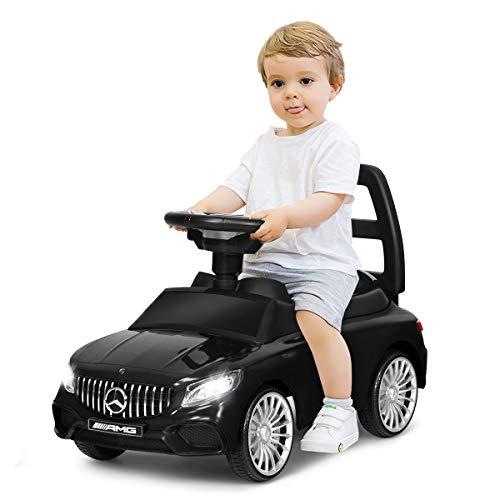 COSTWAY 2 in 1 Mercedes Benz AMG Kinderauto und Schiebeauto mit LED Scheinwerfer, Hupe und Musik,...