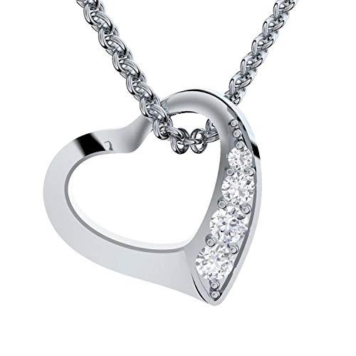 Amoonic Herzkette Silber 925 *Premium ETUI + Ich Liebe Dich Gravur* Damenkette Herz Silberkette Kette...