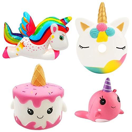 Pachock 4 Stück Kawaii Einhorn Squishies Squeeze Spielzeug, Super Groß Squishy Set Langsam Steigende...