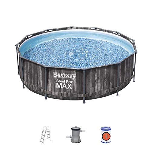 Bestway Piscina 3.66m x 1.00m Steel Pro Max Pool Set 3,66 m x 1,00 m, Holzoptik