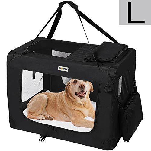 MC Star leichte transportbox Hund Haustier Hundeboxen Auto Hundetransportbox faltbar mit Fleece-Matte,...