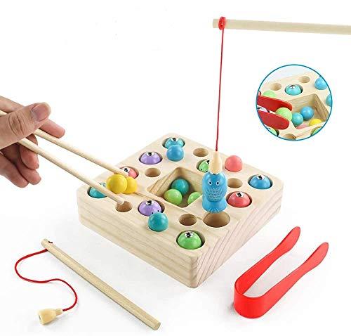 Angelspiel Holz Kinder Holzspielzeug Montessori Spielzeug 3 in 1 Angeln Magnetische Montessori...