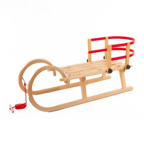 Pinolino Hörnerschlitten: Schlitten aus Holz mit Zugseil & Rückenlehne