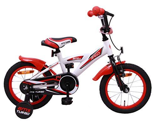 Amigo BMX Turbo - Kinderfahrrad für Jungen - 14 Zoll - mit Handbremse, Rücktritt, Lenkerpolster und...