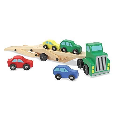 Melissa&Doug Fahrzeugtransporter | Spielzeug und Züge aus Holz | LKWs und Fahrzeuge | 3+ | Geschenk...