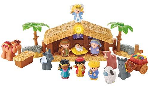 Fisher-Price J2404 - Little People Weihnachtskrippe Geschenkset, mit 12 Figuren und 5 Zubehörteilen, ab...
