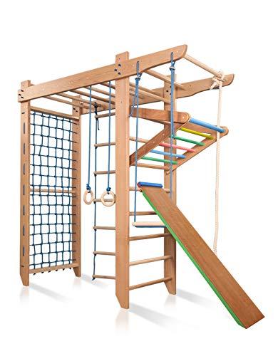 KIND Turnwand Gym Klettergerüst ˝Spartak-5-240˝ Holz Sportgerät Kletterwand Sprossenwand mit Stange...