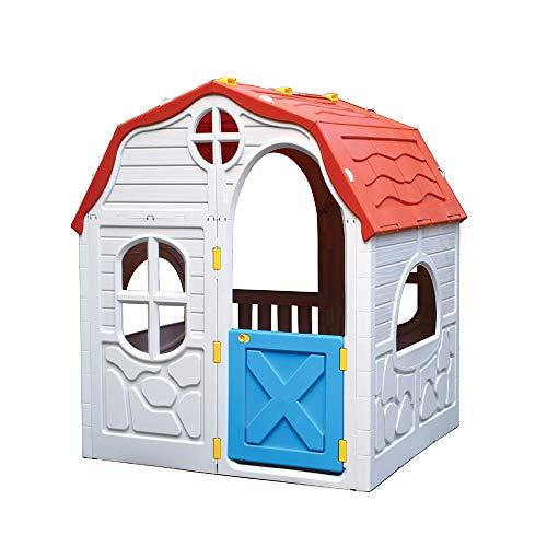 Kreher XL Faltbares Kinderspielhaus, Spielhaus, Gartenhaus aus robustem Kunststoff. Maße: 98 x 91 x 115...