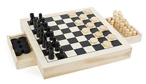 Small Foot 11208 3 in 1 Schach, Dame & Mühle, hochwertige Ausführung aus Holz, Spiele-Klassiker in...