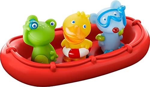 HABA - 303866 - Badeboot Tiermatrosen ahoi!   Badespielzeug mit Boot, Frosch, Ente und Maus   Set aus...