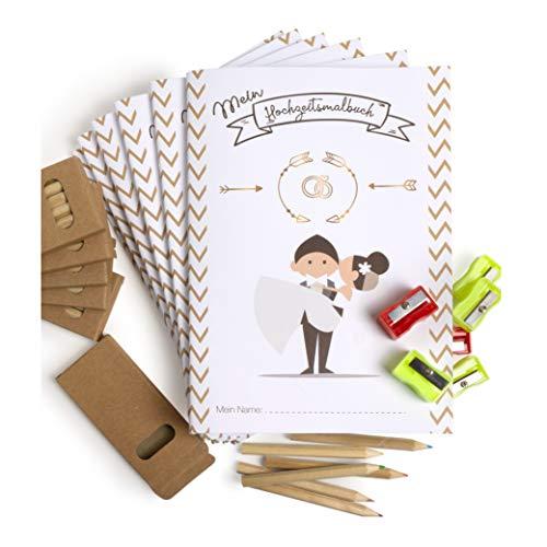 WeddingTree Malbuch Hochzeit für Kinder mit Buntstifte und Anspitzer - Gastgeschenke Hochzeit Kinder -...