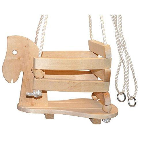 small foot 7190 Babyschaukel 'Pferd' aus Holz, stabil und sicher aufgrund einer erhöhten Umrandung, ab...