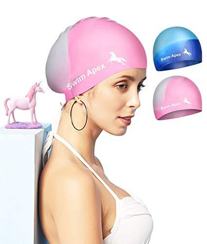 Swim Apex 2 Pack Badekappen für langes Haar Silikon-Badekappen für Frauen Männer Erwachsene...