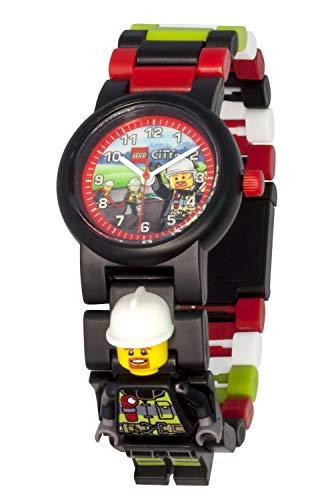 LEGO City 8021209 Feuerwehrmann Kinder-Armbanduhr mit Minifigur und Gliederarmband zum Zusammenbauen ,...