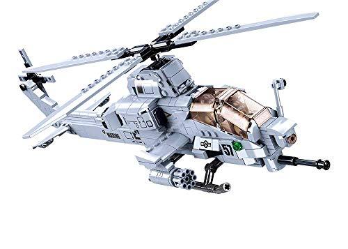 Sluban Klemmbausteine SL95708, Kampfhelikopter IV (482 Teile) [M38-B0838], Spielset , Klemmbausteine,...