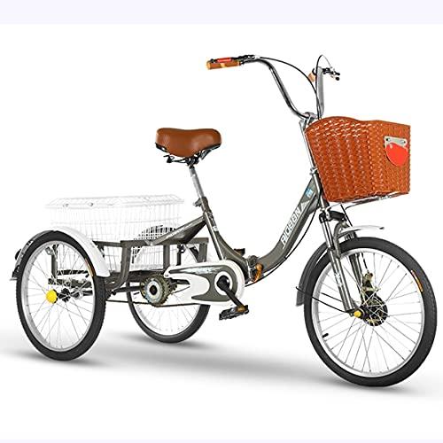 Erwachsenendreirad Faltbar 20 Zoll 3 Räder Cruise Bike Dreirad Pedal Warenkorb Lastenfahrrad...