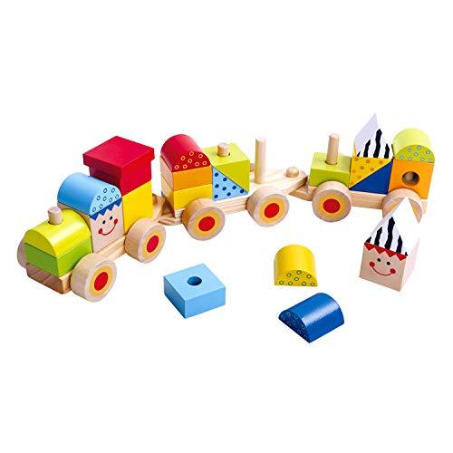 Tooky Toy stapelbare Spielzeug Holz Eisenbahn, 26-teilig - Holzklötze bunte Spiel - Lokomotive...