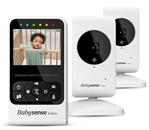 Video-Babyphone Babysense mit Zwei Kameras und Audio, Großer Reichweite, Anzeige der Raumtemperatur,...