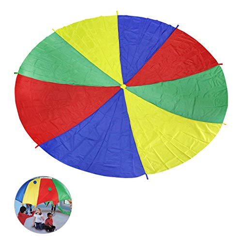 Ballery Schwungtuch, 2M Bunt Fallschirm Fallschirm Spielzeug mit 8 Griffen ideale Aktivität in...