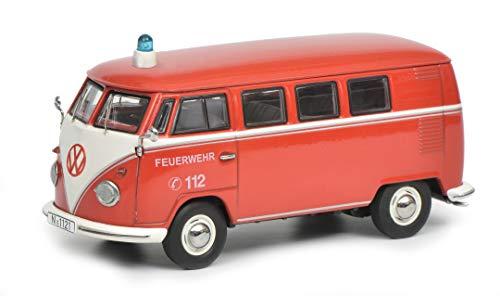 Schuco 450368800 VW T1 Bus Feuerwehr, mit Blaulicht, Modellauto, 1:43, weiß/rot
