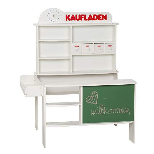 roba Kaufladen, Kinder Kaufmannsladen, Holz weiß, Verkaufsstand mit 4 Schubladen, Uhr, Tafel, Theke &...