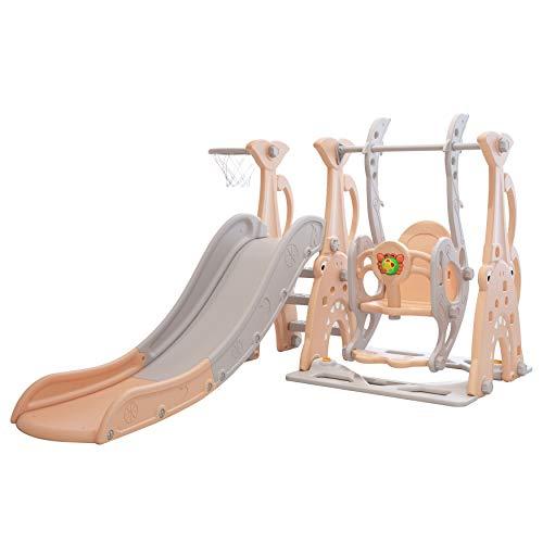 Clarmaro 'Crazy Zoo' 3in1 Kinder Spielplatz mit 165 cm Rutsche, Schaukel und Basketballkorb | Indoor und...