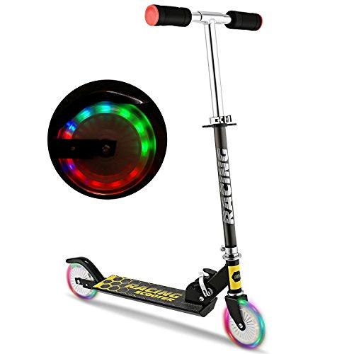 WeSkate Roller Kinder Scooter für Kinder Tretroller Faltbar mit LED Big Wheel und 3 Sekunden Faltsymstem...