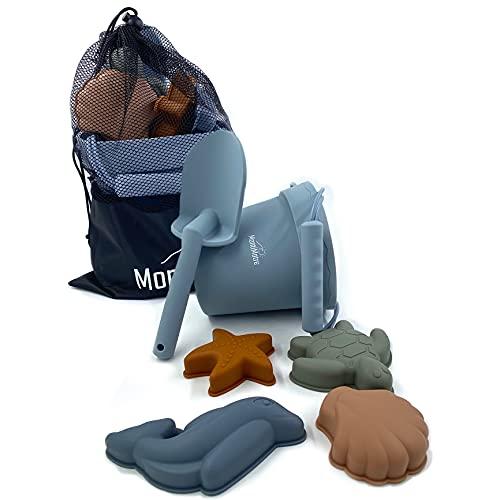 MontiMatre Sandspielzeug Set aus Silikon für Kinder / Netztasche / Strandspielzeug Set für Jungen und...