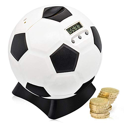 MOMMED Digital Counting spardose mit zähler, Fußball Sparschwein, Sparschwein groß für Kinder,...