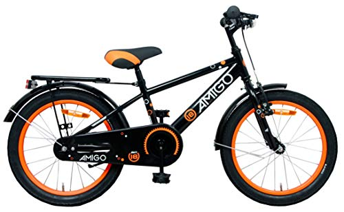 Amigo Sports - Kinderfahrrad für Jungen - 18 Zoll - mit Handbremse, Rücktritt, fahrradständer und...