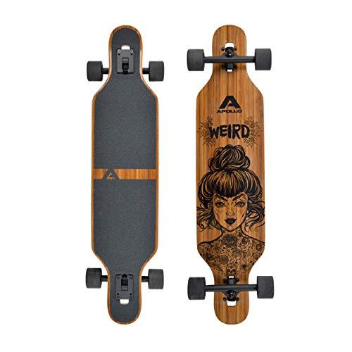 Apollo Longboard, Komplettboard mit Deck aus Bambus & Fiberglas, High-End Board mit ABEC 9 Kugellager,...