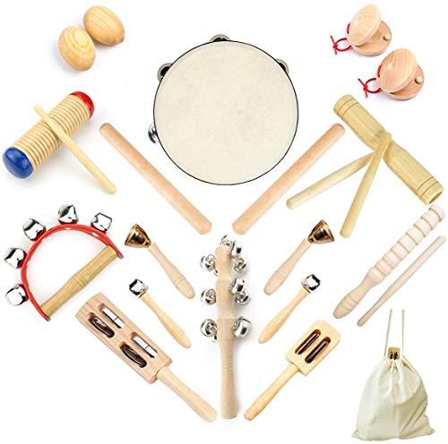 Ulifeme 23 Stück Musikinstrumente Set, Musical Instruments Holz Percussion Set für Kinder, Baby und...