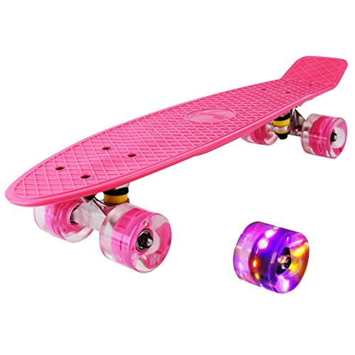 hausmelo Skateboard Mini Cruiser Retro Board Komplettboard für Anfänger Kinder Jugendliche und...
